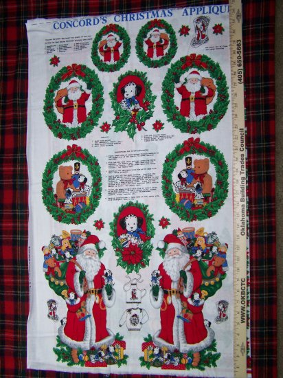 $1 USA S&H Vintage Christmas Cotton Fabric Panel Dalmatian Puppy Santa Appliques