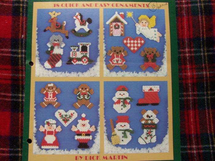 Vintage 18 Christmas Ornaments Mini's In Plastic Canvas Patterns Leaflet 1059