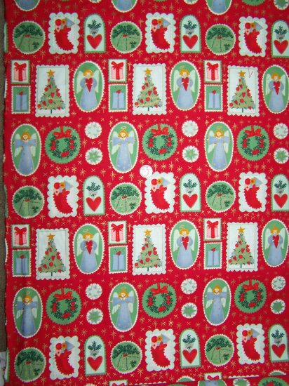 New Alexander Henry Christmas Cotton Fabric Holiday Applique Gold Etched Nicole De Leon