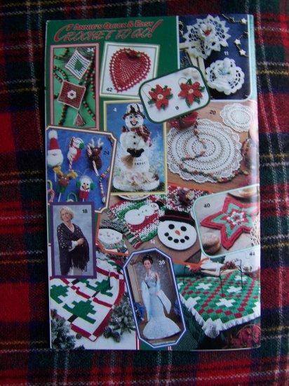 Christmas Annie's Crochet To Go Patterns Book 120 Snowman Tree Topper Ornaments Santa