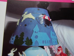 Lamp Shade Decor Christmas Eve Santa and Reindeer In Flight Over A Village