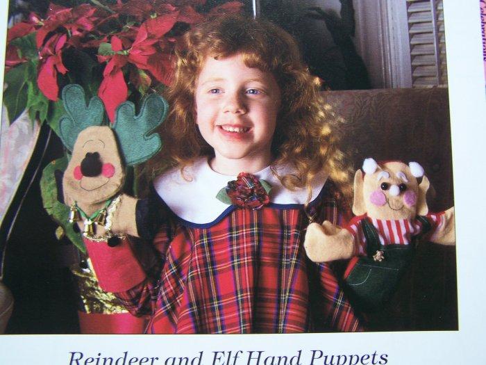 50 cent USA S&H Craft Pattern Christmas Reindeer Elf Hand Puppets Felt Fleece Patterns
