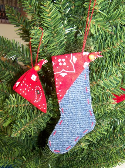 Country Western Christmas Stocking Ornament Red Bandana Rustic Cowboy