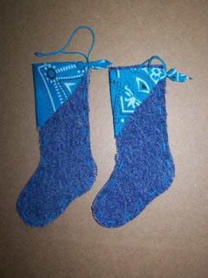 USA 1 Cent S&H 2 Mini Christmas Tree Stockings Ornaments Teal Aqua Bandana Kerchief