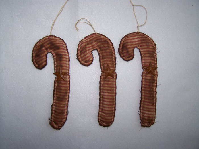 1 Cent USA S&H  3 Primitive Folk Art Candy Cane Christmas Tree Ornaments Bowl Fillers