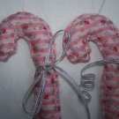 USA 1 Cent S&H Vintage Pink Rose Ticking Shabby Fabric Christmas Candy Cane Ornaments
