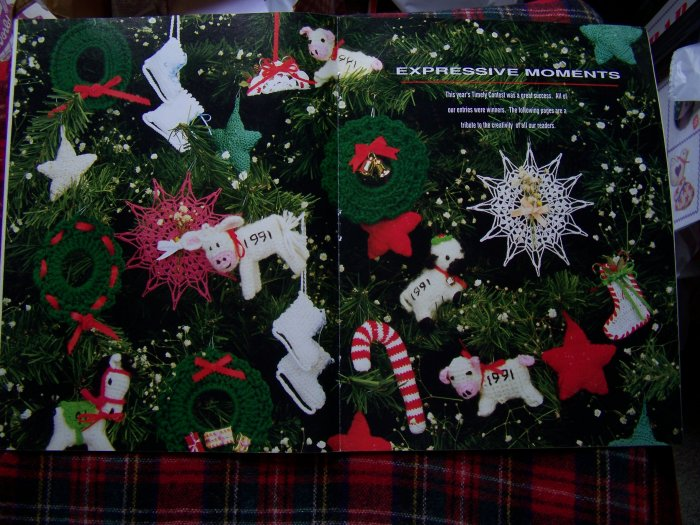 1990's Christmas Crochet Patterns Ornaments Dog Sweater Ear Flap Hats Mittens