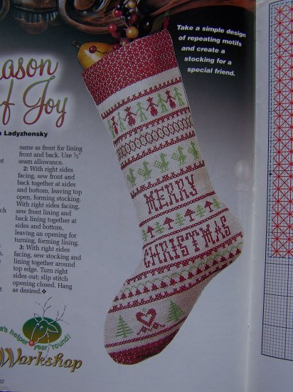 Christmas Cross Stitch Patterns Magazine Stockings Samplers Holiday Scenes