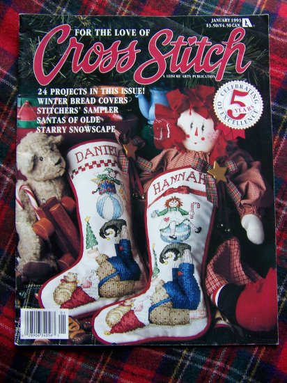 Christmas For the Love OF Cross Stitch Pattern Magazine Jan 1993 Stockings 24 Patterns