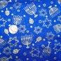 Christmas Cotton Fabric Metallic Gold Menorah Star Of David Hanukkah