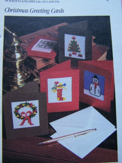 USA 1 Cent S&H 5 Cross Stitch Christmas Cards Patterns Easy 4 Kids