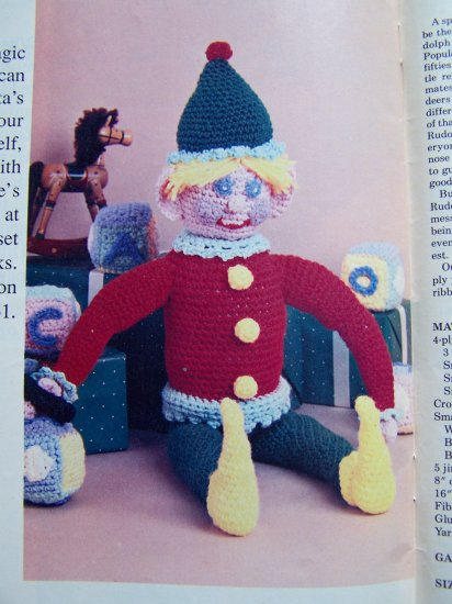 Christmas Crochet Pattern Book Ornaments Stockings Rudolph Elf Doll