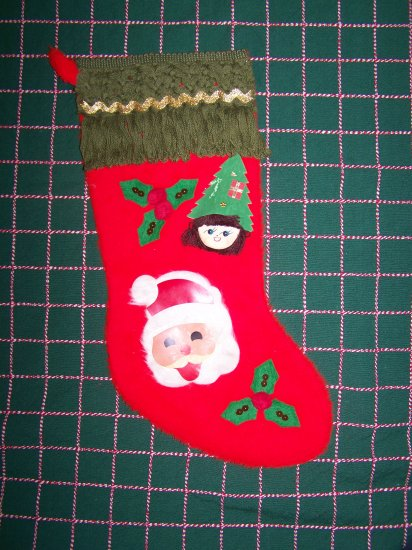 1960's Vintage Red Christmas Stocking Santa Elf Holly Tree 17""
