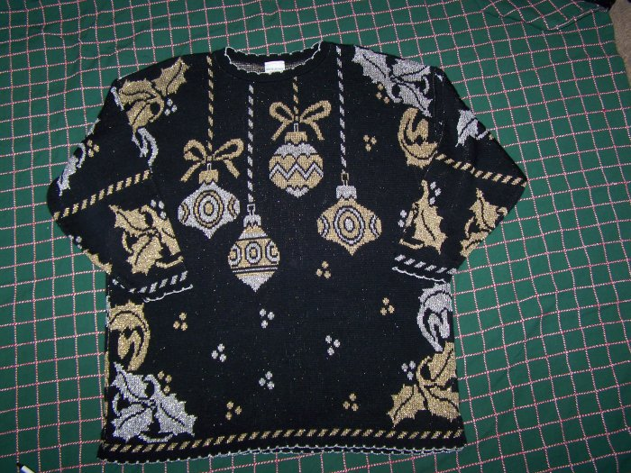 Vintage Womans Ugly Christmas Party Sweater Shiny Silver Gold Ornaments Plus Size