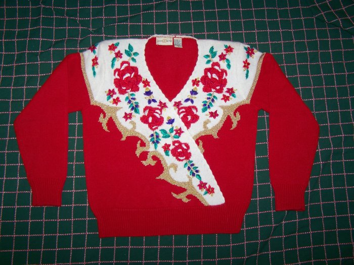 Vintage Jaclyn Smith Tacky Beaded Floral Ugly Christmas Sweater Misses Large