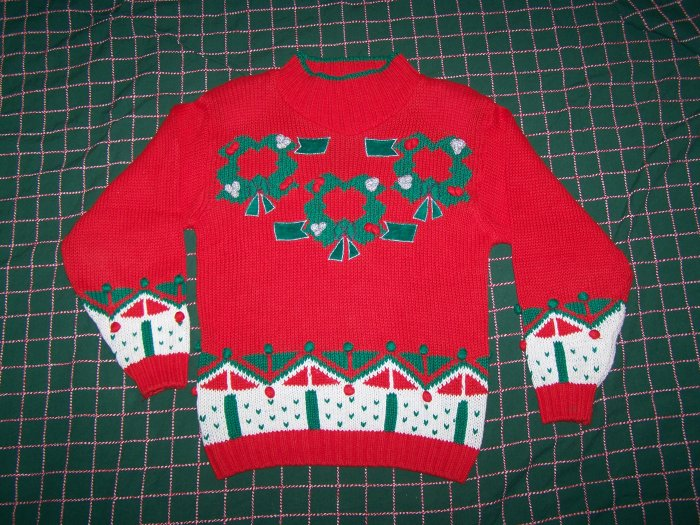 Vintage Red Ugly Wreath Sweater Tacky Design & Pom Poms Ladys Small
