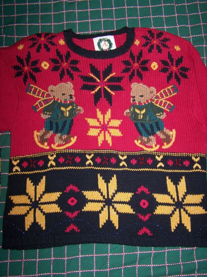 Vintage JK Ugly Christmas Sweater 1994 Ice Skating Bears Metallic Gold Snowflakes