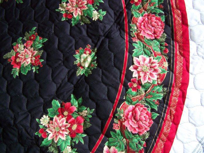 Joyous Noel Quilted Fabric Panel Christmas Tree Skirt & Stockings