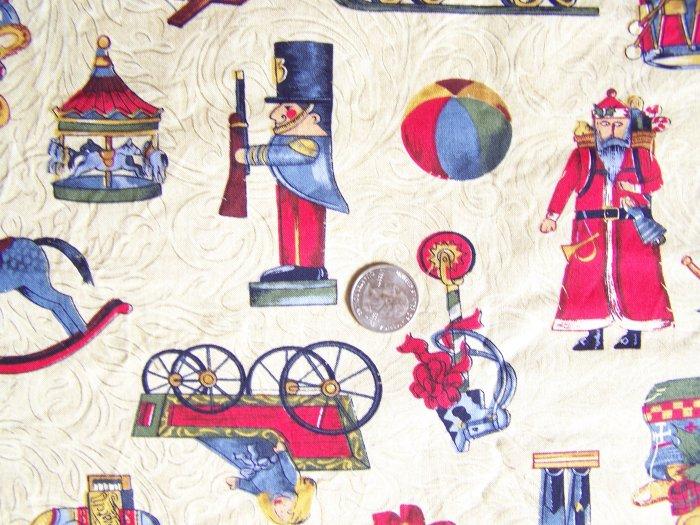 "Vintage Peter Pan Cotton Christmas Fabric Antique Toys 1 Yard 17"" LAST PIECE"