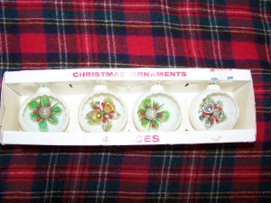 4 Vintage Jewelbrite Christmas Tree Ornaments Retro Decorations
