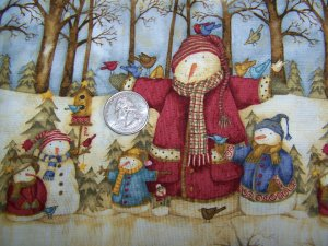 Woodland Forest Snowman Cotton Christmas Fabric Sewing Material
