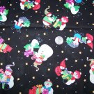 Kimberly Montgomery MBT Cotton Christmas Fabric Snowman On Black