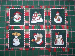1 Cent S&H USA  6 Snowmen Family Angel Cotton Fabric Christmas Quilt Squares Blocks 77