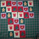 27 Christmas Cotton Quilt Blocks Fabric Tree Angel Heart Gingerbread Men