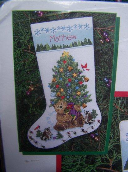 Crewel Embroidery Christmas Stocking Kit Wool Yarn Teddy S