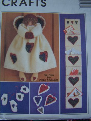 $1 USA S&H Angel Sewing Patterns Christmas Door Hanging Card Holder Ornaments 9556