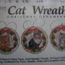 Vermillion Cross Stitch Embroidery Craft Kit 6 Christmas Ornaments Cat Wreaths 1991