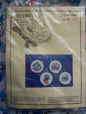 Vintage Christmas Cross Stitch Needlepoint Kit Cat Ornaments Set of 4
