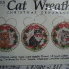 New Vintage Vermillion  Cross Stitch Craft Kit Christmas Cat Wreath Ornaments