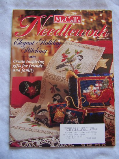 McCall's Dec 1994 Christmas Needlework Patterns Knitting Sewing Cross Stitch