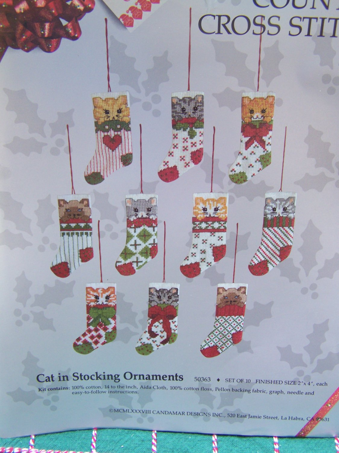 10 Cat Christmas Stocking Ornaments Patterns Candamar Counted Cross Stitch Embroidery