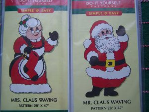 2 New Christmas Yard Art Woodworking Patterns Mr & Mrs Santa Claus Waving Lot