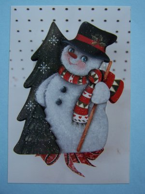Free USA S&H  Vintage Rosemary West Christmas Painting Tole Pattern Snowman with Tree