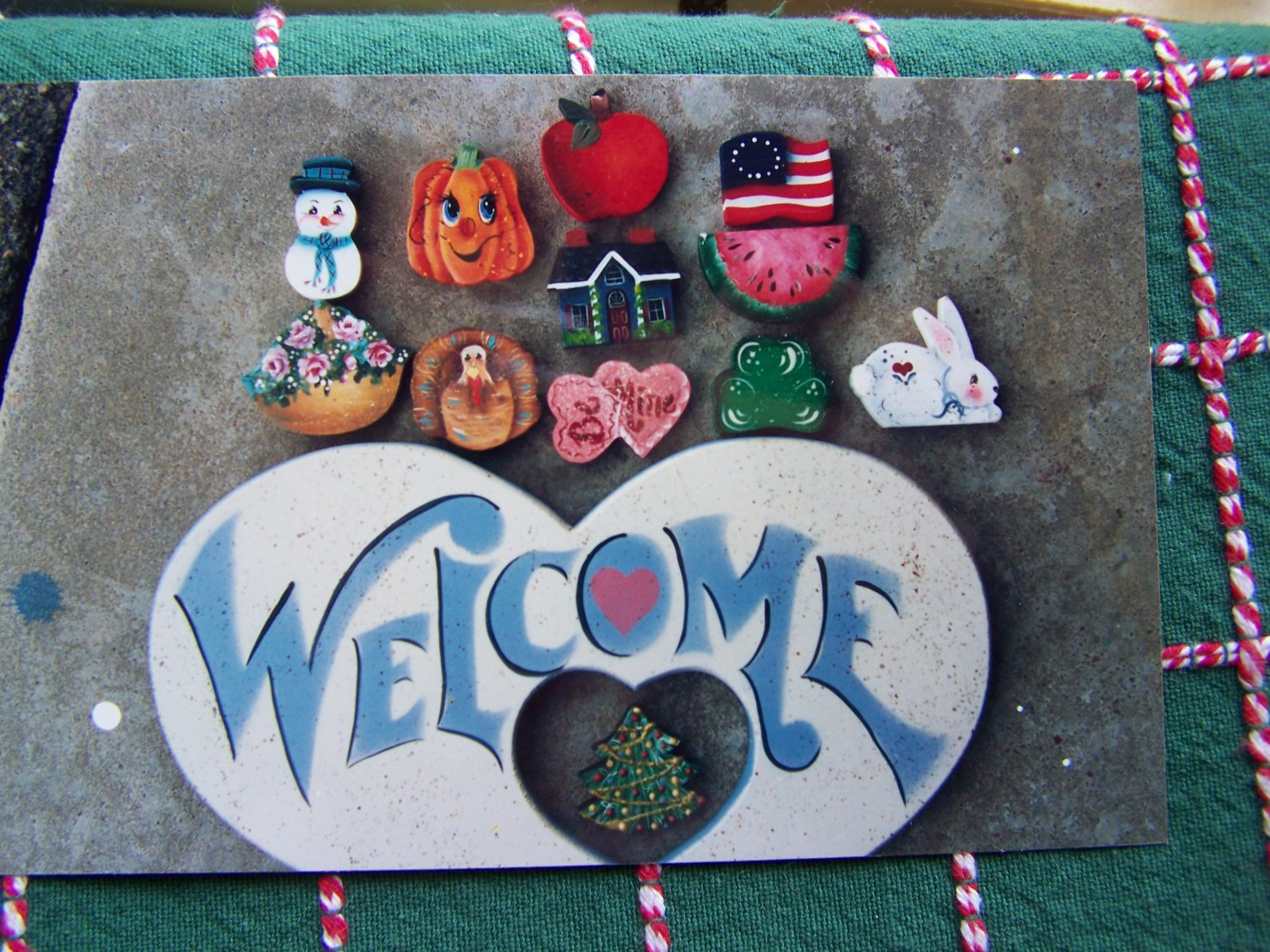 usa free s h vintage tole painting pattern welcome sign with 12 seasonal insert dangles. Black Bedroom Furniture Sets. Home Design Ideas