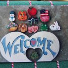 USA Free S&H VIntage Tole Painting Pattern WELCOME Sign with 12 Seasonal Insert Dangles