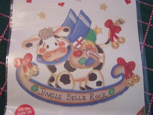 USA Free S&H Christmas Shirt Iron On Transfer Cow Rockinghorse Jingle Belle Rock Glittery