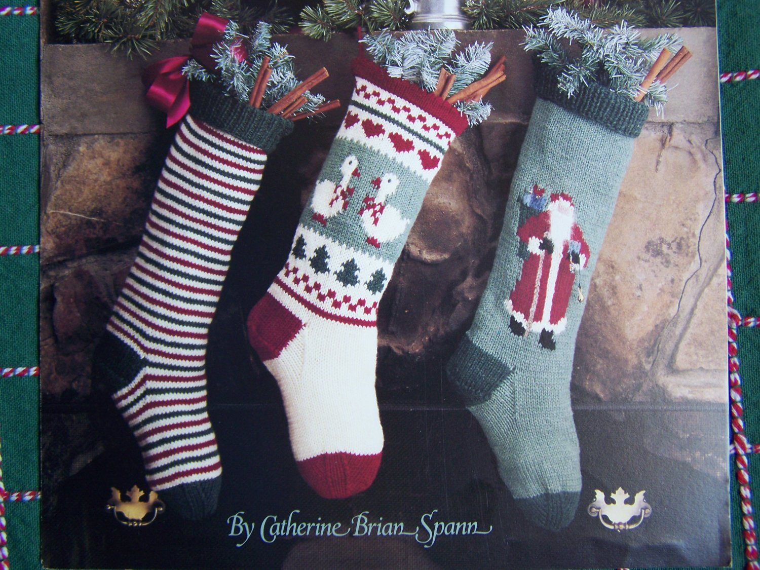 Vintage Christmas Stocking Knitting Patterns Old World Santa Geese Striped