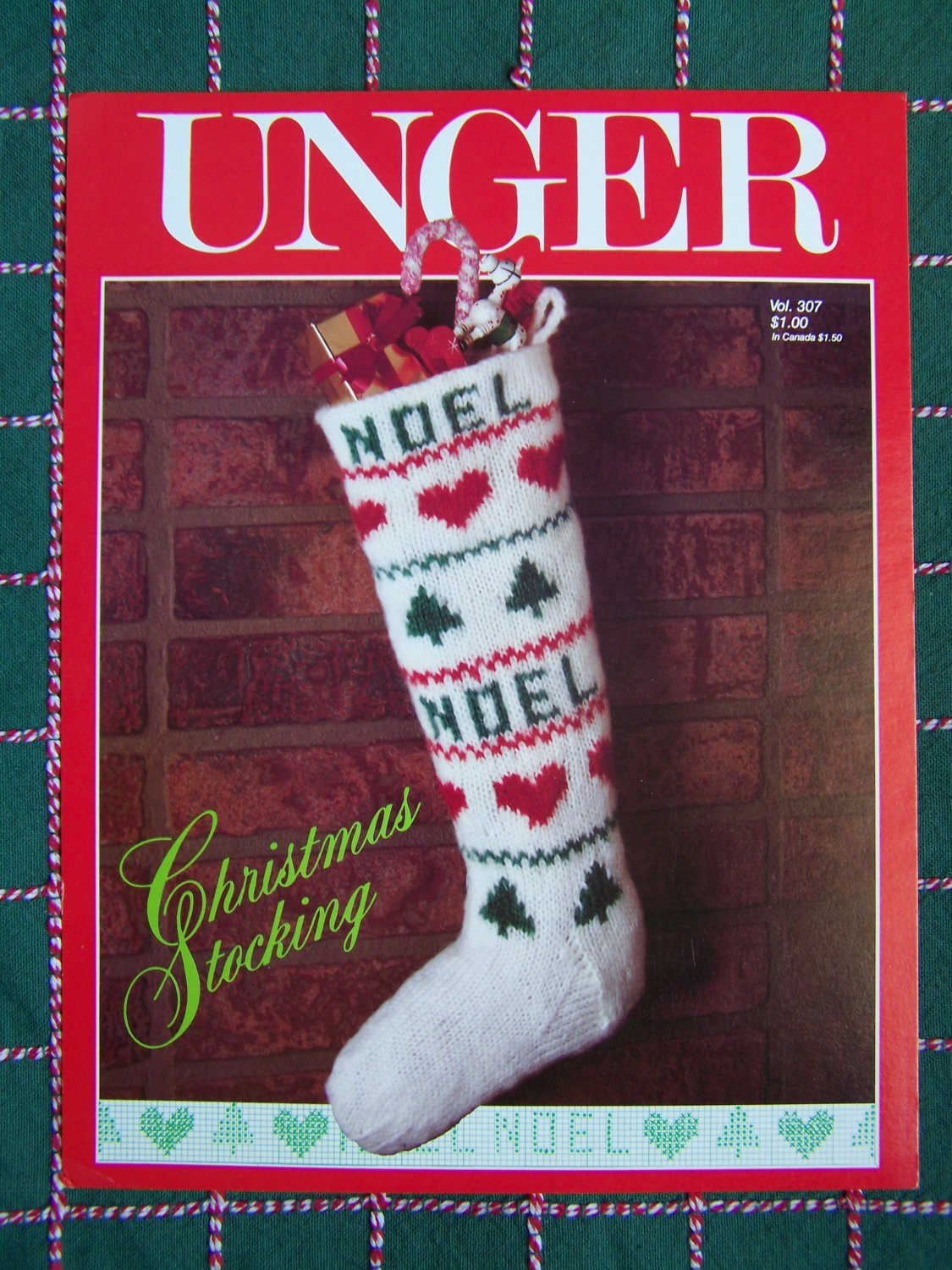 USA 0 S&H Unger Knitting Pattern Vintage Christmas Stocking 307