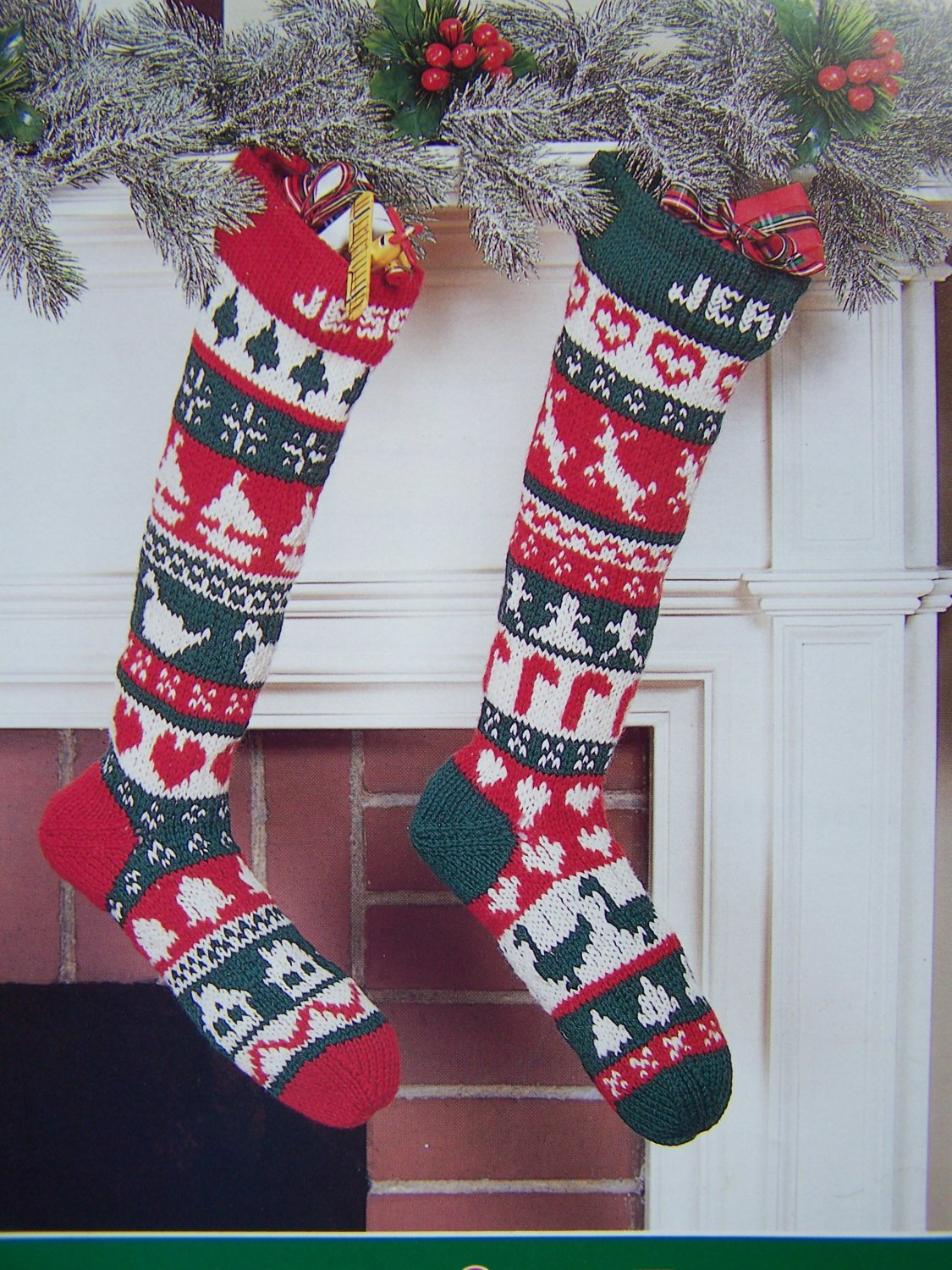 Vintage Christmas Stocking Knitting Pattern : Vintage Christmas Knitting & Crochet Patterns Poinsettia Afghan Scandinav...