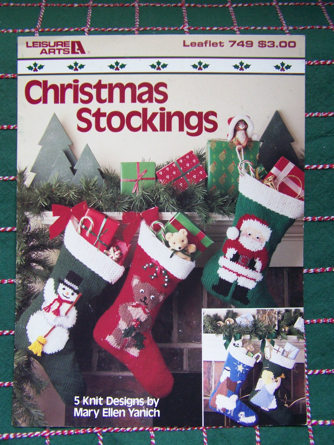 Vintage Christmas Stocking Knitting Pattern Free : USA Free S&H 5 Vintage Christmas Stocking Knitting Patterns Santa Snowman...