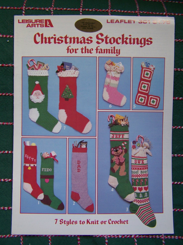 1980s Vintage Christmas Stockings Knitting & Crochet Fair Isle Pets Ruffled Top Granny Square