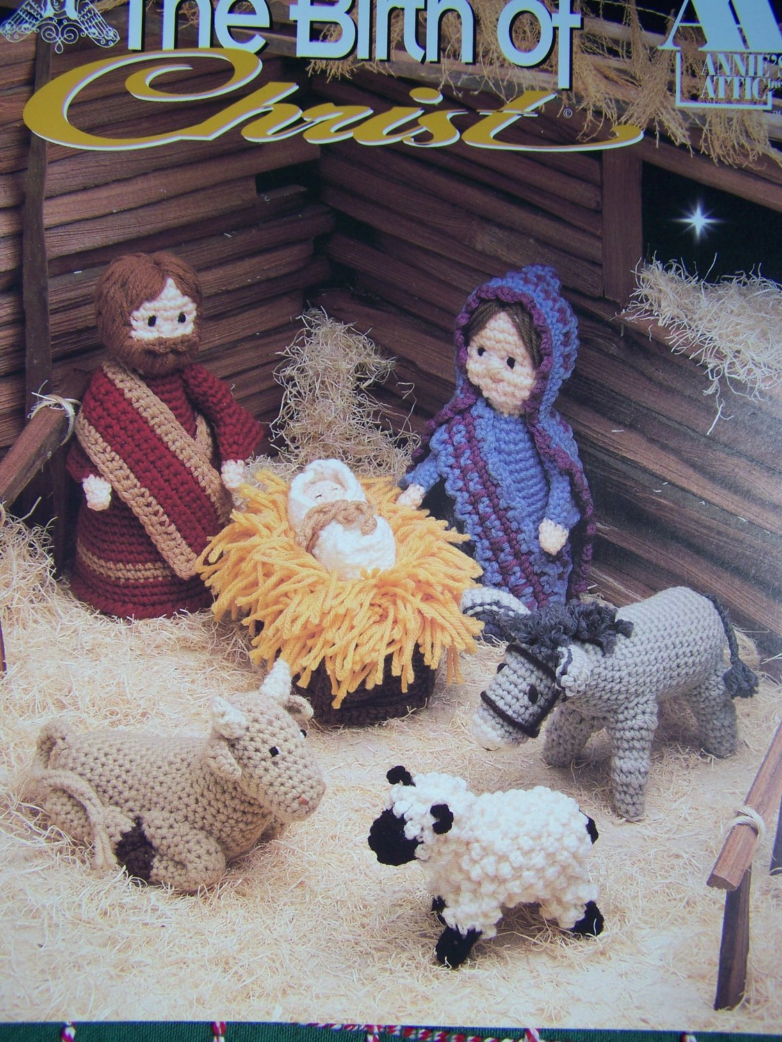 Free USA S&H Annie's Attic Christmas Crochet Patterns The Birth of Christ Nativity Set