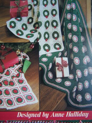 S&H Free USA   3 Vintage Crochet Christmas Afghan Patterns Peppermint Candy Wreath Poinsettia 775