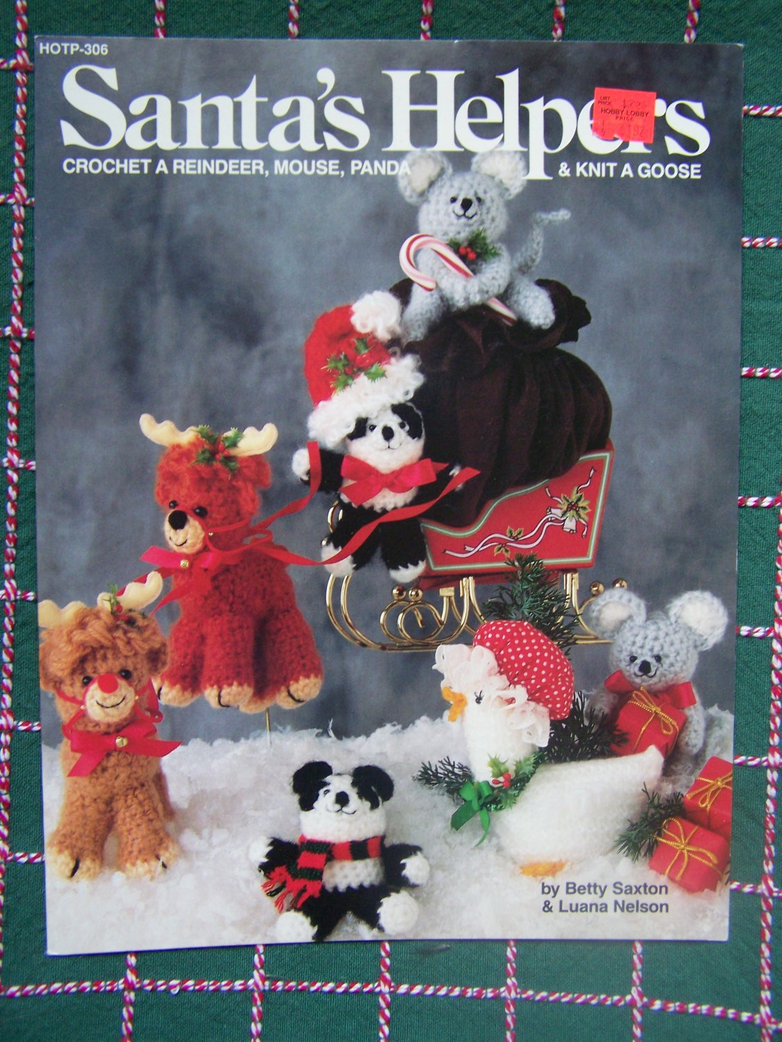 New 1980's Christmas Crochet & Knitting Ornament Patterns Mouse Reindeer Bear Goose