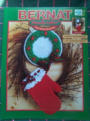 New Bernat Christmas Crochet Patterns Oven Mitt Potholder Ornaments Tree Bell Santa