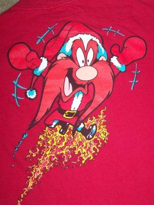 Vintage L Ugly Christmas Holiday Party T Shirt Yosemite Sam Flaming Santa